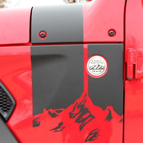 close up of 2020-2021 Jeep Gladiator & 2018-2021 Wrangler Hood Decals CASCADE
