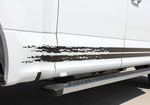 close up of rear door of 2017 Ford F150 Decals 150 BREAKUP ROCKER 2015-2020
