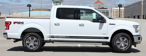 side of white 2017 Ford F150 Decals 150 BREAKUP ROCKER 2015-2021