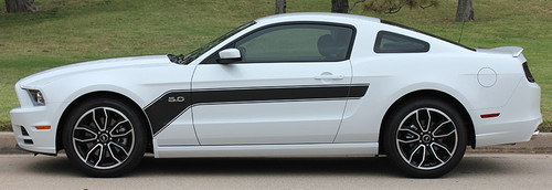 profile of 2013-2014 Ford Mustang Hood and Side Decals Stripes FLIGHT