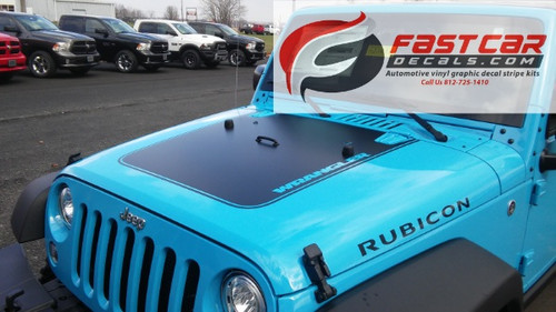 front angle of 2017 Jeep Wrangler Hood Stripe OUTFITTER HOOD 2008-2017