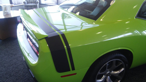rear of green 2017 Dodge Challenger Rear Stripes TAIL BAND 2015-2020