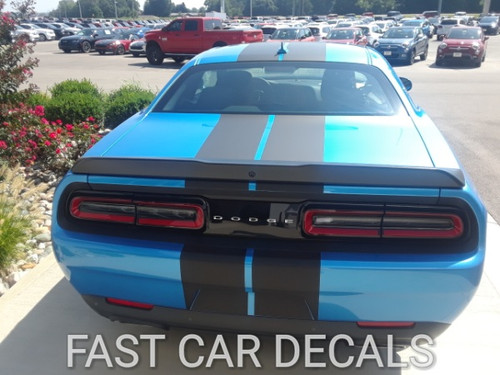 back of blue Hellcat Challenger with Racing Stripes 15 CHALLENGE RALLY 2015-2021