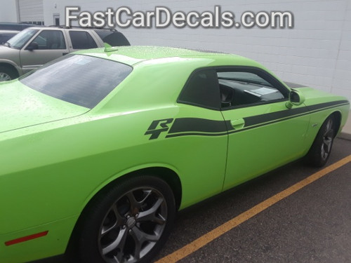 rear of green New Dodge Challenger RT Stripes DUEL 15 2015-2021