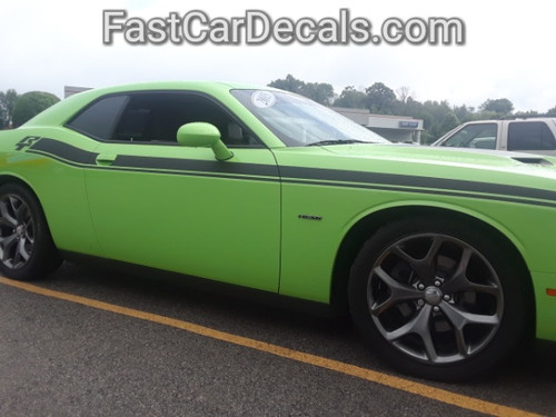 profile of green New Dodge Challenger RT Stripes DUEL 15 2015-2021