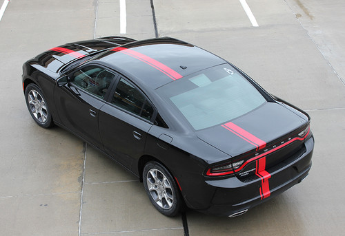rear of black 2017 Dodge Charger Euro Decals E RALLY 2015-2021