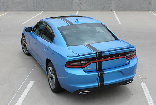 rear angle of blue 2017 Dodge Charger Euro Decals E RALLY 2015-2021
