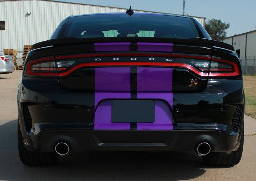 rear of black FAST! Widebody R/T Dodge Charger Stripes N-CHARGE 15 2015-2021
