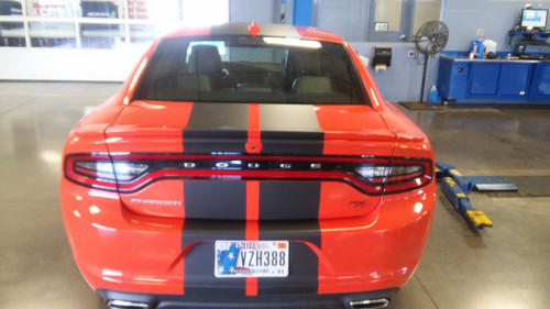 rear of orange Dodge Charger Scat Pack Decals N-CHARGE 15 2015-2018 2019 2020 2021