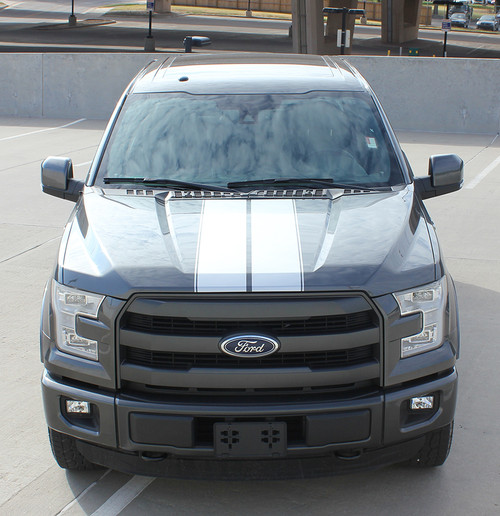 front 2017 Ford F150 Rally Stripes F-RALLY KIT 2015-2017