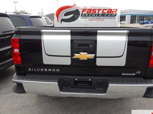 rear of black 2016 2017 2018 Chevy Silverado Hood Racing Stripes CHASE RALLY