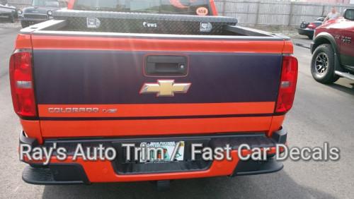 rear of orange 2019 Chevy Colorado Tailgate Stripes GRAND TAILGATE 2015-2020