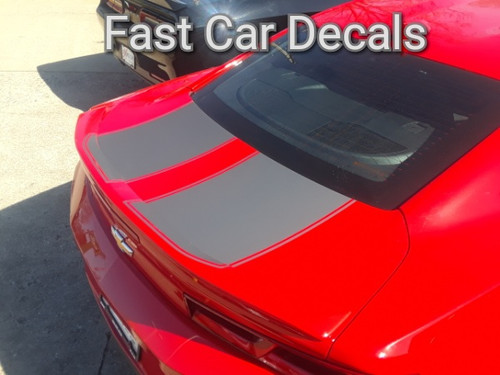 rear angle of red Camaro Racing Stripes CAM SPORT PIN 2016 2017 2018