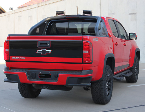 rear of red 2018 Chevy Colorado Tailgate Decals GRAND TAILGATE 2015-2020