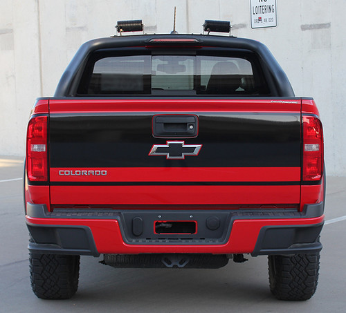 rear view of red 2018 Chevy Colorado Tailgate Decals GRAND TAILGATE 2015-2020