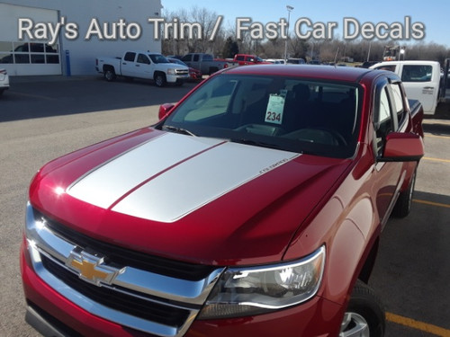 front angle of red 2019 Chevy Colorado Hood Stripes SUMMIT HOOD 2015-2020