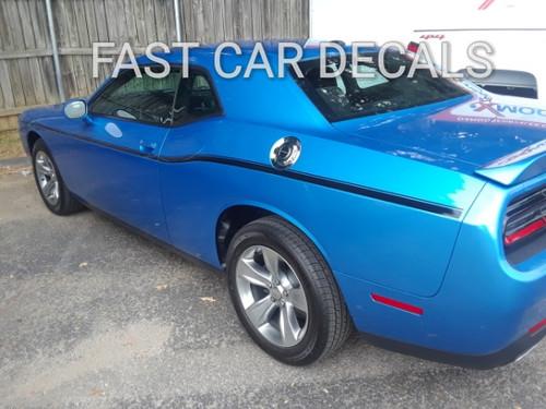 profile of blue 2018 Dodge Challenger Body Stripes SXT SIDE KIT 2011-2021