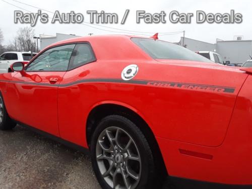 rear of orange 2018 Dodge Challenger Body Stripes SXT SIDE KIT 2011-2021