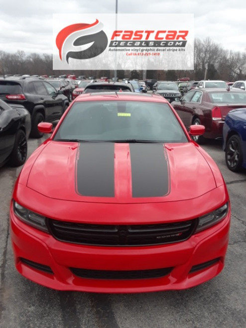 front view of RECHARGE COMBO 15 : Dodge Charger Hood Decals and Side Stripe Decals