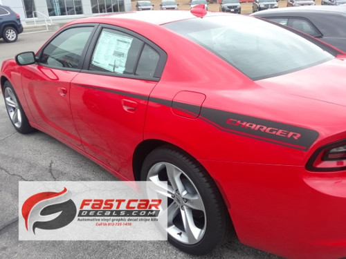 side view of RECHARGE COMBO 15 : Dodge Charger Hood Decals and Side Stripe Decals Rear Quarter Panel fits 2015-2021