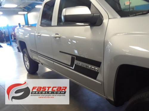 front angle of 2017 Chevy Silverado Bed Decals SHADOW 2013-2015 2016 2017 2018