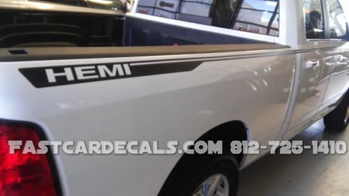 close side view of 4X4 HEMI Dodge Ram 1500 Truck Stripes HUSTLE 2009-2016 2017 2018