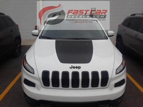 front of white 2019 Jeep Cherokee Hood Decals T-HAWK HOOD 2014-2020