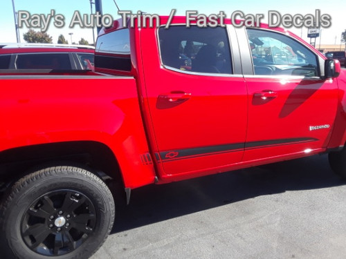 side of bright red GMC Canyon Side Door Stripes RATON 2015-2021