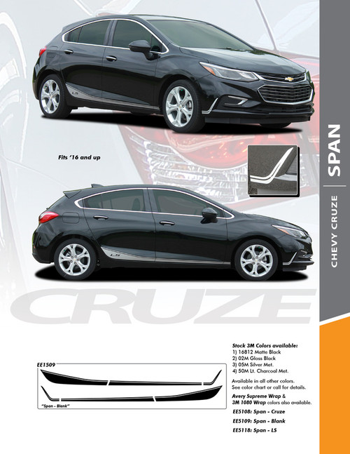 flyer for 2018 Chevy Cruze Graphics SPAN ROCKER 2016-2018 2019