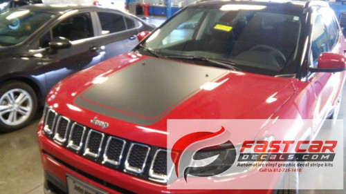 front of NEW! Jeep Compass Hood Stripes BEARING HOOD DECALS 2017-2021
