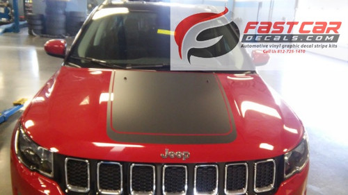 front of red NEW! Jeep Compass Hood Stripes BEARING HOOD DECALS 2017-2020