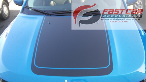 front view of blue NEW! Jeep Compass Hood Stripes BEARING HOOD DECALS 2017-2020
