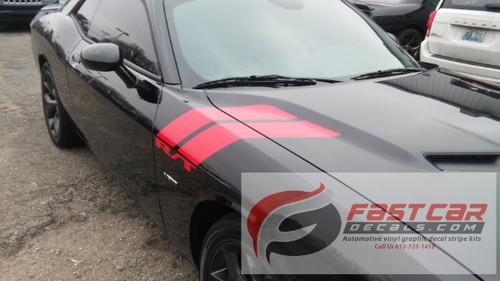 front of Black 2016 Dodge Challenger Graphics DOUBLE BAR 2008-2021