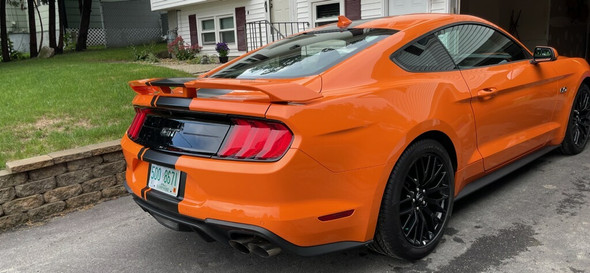 rear of orange EURO XL RALLY   2021-2018 Ford Mustang Center Matte Black Stripes Premium Products!