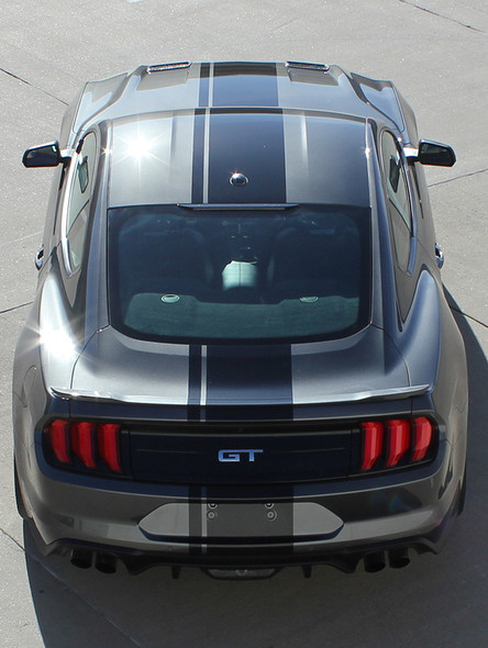 rear of EURO XL RALLY   2021-2018 Ford Mustang Center Matte Black Stripes Premium Products!