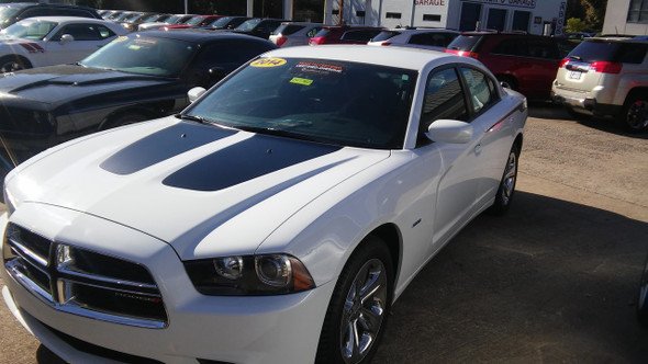 front of white 2014 Dodge Charger R/T Stripes RECHARGE 2011-2014