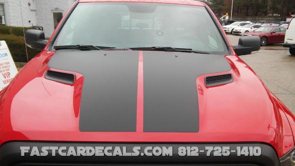 hood of red Dodge Ram Hood Stripes HEMI HOOD 2009-2018