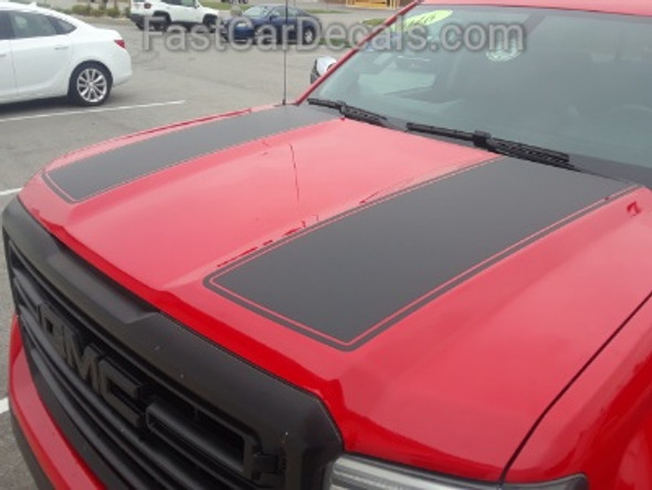 front angle of red GMC Sierra Dual Racing Stripes SIERRA RALLY 2014-2016 2017 2018