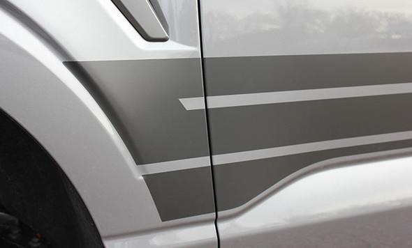 rear of gray 2021 Ford F150 Side Stripes 15 150 ROCKER 2 2015-2021