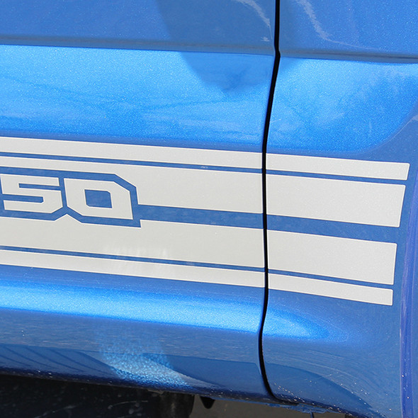 close up of 2018 Ford F150 Decals 15 150 ROCKER 2 2015-2018 2019 2020 2021