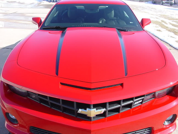 front view of 2012 Chevy Camaro Hood Spear Stripes HOOD SPIKES 2009-2015