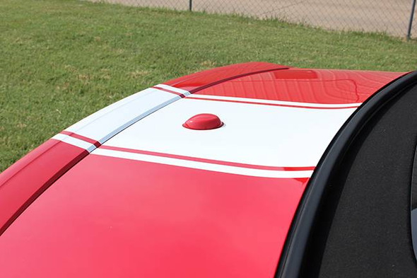 trunk of red 2018-2021 Ford Mustang Convertible Center Graphics HYPER RALLY Stripes