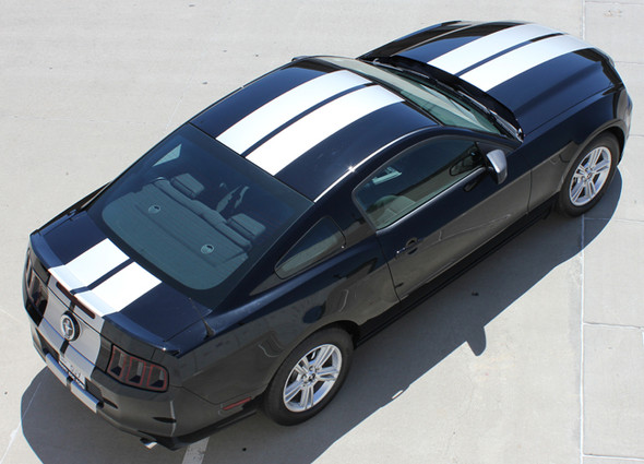 rear of 10 Inch Wide Racing Stripes for Mustang THUNDER 2013-2014