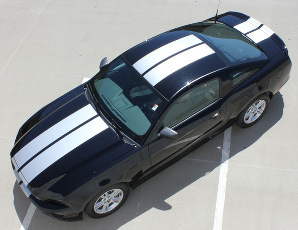 top view of 10 Inch Wide Racing Stripes for Mustang THUNDER 2013-2014