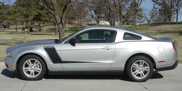 side of Ford Mustang Side and Hood Custom Decals LAUNCH 2010-2012