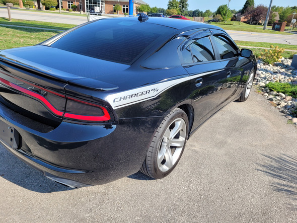 rear angle of black 2019 Dodge Charger Side Graphics 15 RECHARGE 2015-2021