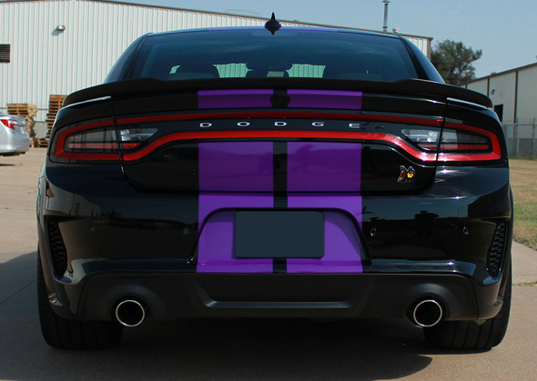 rear of black Dodge Charger SRT 392 Hellcat Stripes N CHARGE RALLY 15 2015-2021