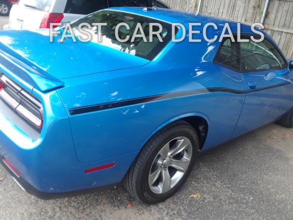 rear of blue 2015 Dodge Challenger Side Stripes SXT SIDE KIT 2011-2021
