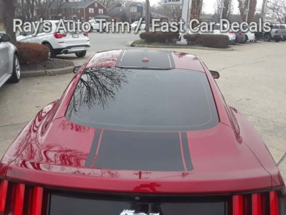 rear of red Ford Mustang Wide Top Stripe Decals MEDIAN 2015 2016 2017 | FCD