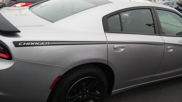 profile of RIVE : Dodge Charger Hood Spike Stripes and Rear Panel Side Decals fits 2015-2021